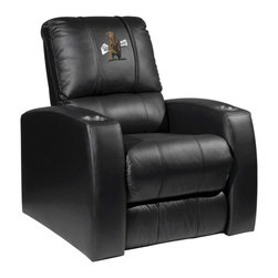 Dreamseat Inc. - Bear - Standing Home Theater Leather Recliner - Check out this awesome Leather Recliner. Quite simply, it's one of the coolest things we've ever seen. This is unbelievably comfortable - once you're in it, you won't want to get up. Features a zip-in-zip-out logo panel embroidered with 70,000 stitches. Converts from a solid color to custom-logo furniture in seconds - perfect for a shared or multi-purpose room. Root for several teams? Simply swap the panels out when the seasons change. This is a true statement piece that is perfect for your Man Cave, Game Room, basement or garage. It combines contemporary design with the ultimate comfort from a fully reclining frame with lumbar and full leg support.