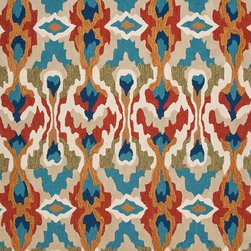 Jaipur Rugs - Transitional Tribal Pattern Blue Polyester Tufted Rug - BR43, 3.6x5.6 - A youthful spirit enlivens Esprit, a collection of contemporary rugs with joie de vivre! Punctuated by bold color and large-scale designs, this playful range packs a powerful design punch at a reasonable price.