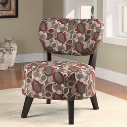 Coaster - Multi Color Casual Accent Chair - Spice up any room with this oblong pattern accent chair with padded seating and dark brown wood legs.