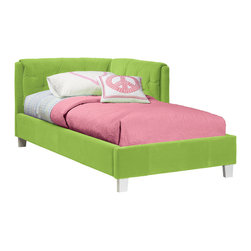 Standard Furniture - Standard Furniture My Room Upholstered Corner Daybed in Green Velvet - Upholstered Corner Daybed in Green Velvet belongs to My Room Collection by Standard Furniture Comfy, cozy and functional, our versatile Corner Daybeds are just what every little girl needs in her bedroom for play, media use, or to create an inviting study nook.  Headboard & Footboard (1), Rails