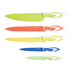 """Berghoff - Berghoff Studio Colored Ceramic Coated Knife Set 5-Piece - Set includes: 3.5"""" paring knife, 5"""" utility knife, 8"""" chef's knife, 8"""" carving knife and 8"""" bread knife. This stylish cutlery set is light and perfectly balanced for ease of use. The bright colors make choosing the right knife for the job easy and the nonstick coating allows for smooth cuts without crushing, tearing or sticking to your food."""