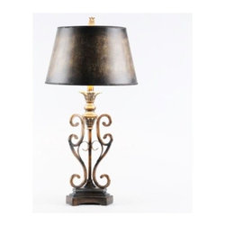 Scroll Table Lamp - Elegant in design, the Scroll Table Lamp would be stunning in any room of your home.  With its dark, dramatic shade, it would work well in a library, home theater or gentleman's study.