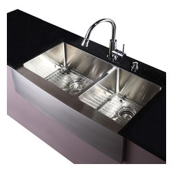 Kraus - 36 in. Farmhouse 60/40 Double Bowl Stainless Steel Kitchen Sink - Add an elegant touch to your kitchen with a unique and versatile undermount sink from Kraus
