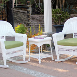 Jeco - 3-piece White Rocker Wicker Chair Set with Cushions - Add a beautiful,comfortable seating arrangement to your deck or patio with this three-piece wicker chair set. The two chairs are complemented by an end table,all crafted of wicker,and come with your choice of colored cushions.