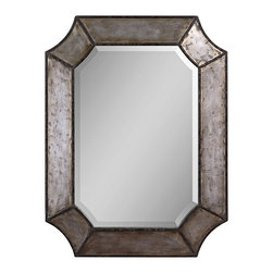 """Uttermost - Industrial Uttermost Elliot 32"""" High Wall Mirror - Express yourself with the dramatic shape and lustrous finish of this attractive wall mirror. The curved corner frame is made of distressed, hammered aluminum with burnished details and a rust brown trim. The interior mirror has a generous 1 1/4"""" bevel. Burnished aluminum frame. Beveled mirror. 32"""" high. 24"""" wide. Extends 2"""" from the wall. Weighs 27 pounds."""