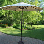 Oakland Living - Rochester Umbrella w Stand - Lightweight. Traditional straight pattern. Stainless steel hardware. Fade, chip and crack resistant. Hardened powder coat finish in hammer tone bronze. Warranty: One year. Made from durable metal and poly material and tubular iron. Minimal assembly required. 108 in. L x 108 in. W x 100 in. H (45 lbs.)The Oakland Rochester collection combines practical designs and modern style giving you a rich addition to any outdoor setting. This umbrella set will be a beautiful addition to your patio, balcony or outdoor entertainment area.