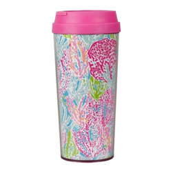 Lilly Pulitzer - Lilly Pulitzer Thermal Mug, Let's Cha Cha - Our Lilly Pulitzer Thermal Mug, Let's Cha Cha is the answer for you if you're looking for a large coffee mug that can travel easily with you. The pink lid makes it even cuter than it is convenient, and the styling of this travel mug will fill you with cheer as you sip your coffee, tea or cocoa.