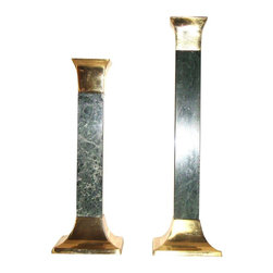 Consigned Vintage Green Marble Brass Candlesticks - Set of 2 - Pair of 2 Vintage Green solid Marble and  Brass Candlesticks candle holders. 4.0ʺW × 4.0ʺD × 12.0ʺH