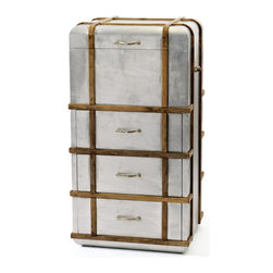 Steamer Chest - Look closely…it's actually packing drawers and a lift top. Really cool storage that blurs the line between materials. Its metal overlay on wood, finished with wood strapping and convenient handles. Very innovative…very one-of-a-kind.
