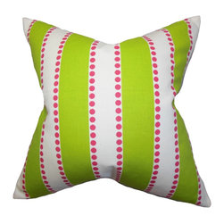 """The Pillow Collection - Odienne Stripes Pillow Green 18"""" x 18"""" - Bright and playful, this toss pillow features a splashy design which is perfect for any settings. With a cheery color palette in shades of green, white and pink, this contemporary pillow provides a fresh accent to your sofa, bed or chair. You can easily pair solids and other patterns with this 100% cotton-made throw pillow. Hidden zipper closure for easy cover removal.  Knife edge finish on all four sides.  Reversible pillow with the same fabric on the back side.  Spot cleaning suggested."""