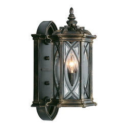 Fine Art Lamps - Warwickshire Outdoor Wall Mount, 612681ST - Small yet stately, this exterior wall mount welcomes family and guests to your home with light. Individually beveled, leaded glass panels are set in a dark wrought iron patina for dramatic effect.