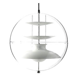 Verpan - Panton VP Panto Pendant Light - The controlled light. The transparent light.The colored light. Both Panto and VP Globe planets are unusually light globes. Available from all sides. Kind and forthcoming. An airy bubble which will give the light optimum working conditions and let it show its best advantage in space. The light discs above and below the shielded bulb and again could be related to the ball allows variation and adaptation of the light to fit the space. And they show Verner Panton's great feeling for the technical aspects, materials and opportunities, and bright.