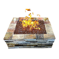 "Realstone Recycling - Granite fire pit, Light Blend, 36""square - Beautiful granite fire pit contains 32 square feet of granite and assembles in less than 10 minutes. Can be permanently installed with silicone or building adhesive. Contains 90 pieces. Measurement can vary from 37"" to 35"" depending how tight you bring the granite pieces together."