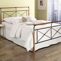 """FBG - Kendall Bed - Features: -Kendall collection.-Powder Coated Finish: Yes.-Gloss Finish: No.-Upholstered: No.-Number of Items Included: 1 Headboard, 1 Footboard, 1 Bed Frame.-Hardware Material: Metal.-Non Toxic: Yes.-Scratch Resistant: No.-Mattress Included: No.-Box Spring Required: Yes -Boxspring Included: No..-Headboard Storage: No.-Footboard Storage: No.-Underbed Storage: No.-Adjustable Headboard Height: No.-Adjustable Footboard Height: No.-Wingback: No.-Trundle Bed Included: No.-Attached Nightstand: No.-Cable Management: No.-Built in Outlets: No.-Lighted Headboard: No.-Finished Back: Yes.-Reclaimed Wood: No.-Distressed: No.-Bed Rails Included: Yes.-Collection: Kendall.-Eco-Friendly: No.-Recycled Content: No.-Wood Moldings: No.-Canopy Frame: No.-Hidden Storage: No.-Jewelry Compartment: No.-Weight Capacity: 750 lbs.-Swatch Available: No.-Commercial Use: No.-Product Care: Wipe with a clean, damp cloth.Specifications: -FSC Certified: No.-EPP Compliant: No.-CPSIA or CPSC Compliant: No.-CARB Compliant: No.-JPMA Certified: No.-ASTM Certified: No.-ISTA 3A Certified: No.-PEFC Certified: No.-General Conformity Certificate: No.-Green Guard Certified: No.Dimensions: -Overall Height - Top to Bottom (Size: King): 44"""".-Overall Height - Top to Bottom (Size: Queen): 44"""".-Overall Width - Side to Side (Size: King): 79"""".-Overall Width - Side to Side (Size: Queen): 63"""".-Overall Depth - Front to Back (Size: King): 93"""".-Overall Depth - Front to Back (Size: Queen): 90"""".Assembly: -Assembly Required: Yes.-Tools Needed: Screwdriver.-Additional Parts Required: No.Warranty: -Product Warranty: 10 Year Manufacturer Warranty."""