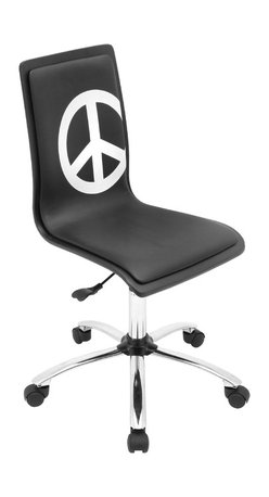 "Lumisource - Printed Office Chair, Peace - 23"" L x 23"" W x 34 - 38.5"" H"