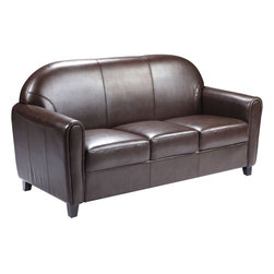 Flash Furniture - Hercules Envoy Series Brown Leather Sofa - Make an impression with your clients and customers with this attractive leather reception chair. Reception chairs are perfect for the office and waiting room seating. Not only will this chair fit in a professional environment, but will add a chic look to your living room space. The contemporary design of this chair will fit in a multitude of environments with its comfortable cushions, elegant rounded arms and black wood feet.