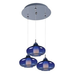 ET2 lighting - 3-Light RapidJack Pendant and Canopy Polished Chrome w/Graduating Blue Glass - Minx embodies a collection of show-stopping, conversation-starting pendants that range from simple to chic. Featuring rapid Jack, no wire, no hassle installation, available with single, triple, or quadruple Xenon light sources, these Minx pendants boast a variety of finishes, shapes, and functions that suit most any room. For more information on Minx, check out custom pendant systems.