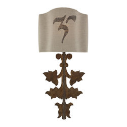 Aidan Gray - Aidan Gray Prato Wall Sconce Set WL251 SET-PR - A match to our Prato decor piece, the Prato Wall Sconce Set has an aged Gold Leaf finish and and as part of our seasonal shade program, comes with two shades. Each set is Dark Linen, with one set hand stenciled with unique numbering.