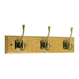 Liberty Hardware - Liberty Hardware 129853 0 18 Inch Hook - Antique Brass - This 18 in. Rail with 3 Antique Brass Hooks features 3 double hooks that project 3 in. and provide an abundance of space for hanging items. Supports up to 35 pounds. This rail includes mounting hardware for easy installation. Width - 18 Inch, Height - 2.8 Inch, Projection - 1.5 Inch, Finish - Antique Brass, Weight - 1.1 Lbs.