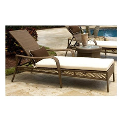 Hospitality Rattan - Grenada Patio Chaise Lounge in Viro Fiber Ant - Clean, angular design elements give this chaise lounge a modern look that will be an appealing addition to any outdoor decor. Ideal on a patio or poolside deck, the contemporary chaise has an aluminum frame and is finished in antique brown colored woven wicker. This product is warranted for outdoor use. Made of Aluminum Frame w All Weather Viro Fiber Wicker. Constructed of an aluminum frame wrapped in woven viro fiber. Cushions are optional on this item. Weather and UV resistant. Viro Fiber antique finish. Matching dining group and pub set available. Stackable design helpful In commercial settings. End Table not included. 84 in. W x 36 in. D x 21 in. H (27 lbs.)The Grenada contemporary patio set has a fully anodized aluminum frame and woven Viro fiber, which gives this collection a unique textured surface. The Grenada Collection does not require cushions. The collection also features frosted tempered glass on all its tables, along with the ability to accommodate an umbrella with the patio dining set. Cushions are optional and are not included.The Grenada Collection has a contemporary, yet tropical feel that offer a clean look for any patio area and the convenience of all-weather wicker. Supported by an aluminum frame wrapped in high quality Viro fiber. This all-weather wicker Chaise lounge is incredibly comfortable with or without cushions. The simplicity of the Grenada collection and the versatility really make it an excellent choice for anyone. They are also stackable for easy storage if necessary.