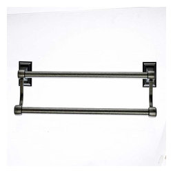 Top Knobs - Top Knobs: Stratton Bath 18 Inch Double Towel Rod - Antique Pewter - Top Knobs: Stratton Bath 18 Inch Double Towel Rod - Antique Pewter