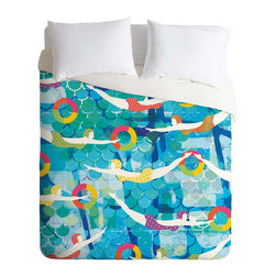 DENY Designs - DENY Designs Sam Osborne Swimming Gala Duvet Cover - Lightweight - Turn your basic, boring down comforter into the super stylish focal point of your bedroom. Our Lightweight Duvet is made from an ultra soft, lightweight woven polyester, ivory-colored top with a 100% polyester, ivory-colored bottom. They include a hidden zipper with interior corner ties to secure your comforter. It is comfy, fade-resistant, machine washable and custom printed for each and every customer. If you're looking for a heavier duvet option, be sure to check out our Luxe Duvets!
