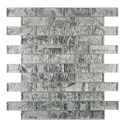 """Euro Glass - Galaxie Baby's Breath 1"""" x 3"""" Silver Folia Brick Glossy Glass - Folia patterned-glass mosaics offer a unique appearance unachievable with conventional tiles. The vibrancy and depth of color combined with the reflective quality of glass results in a unique and dramatic effect that is borderline out-of-this-world! They are easy to clean and maintain. They will continue to provide a dazzling appearance for many years to come."""