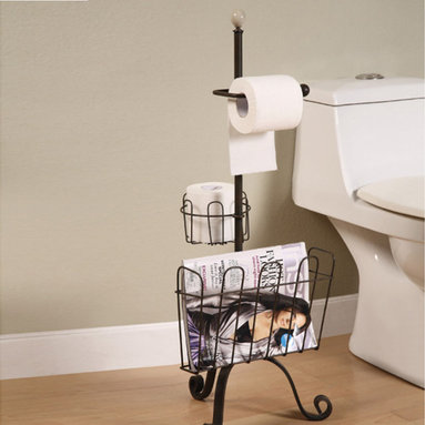 Metal Toilet Paper & Magazine Holder - Functional, study, and fashionable... This metal toilet paper & magazine holder doubles in functionality. Perfect for storing your bathroom reads with an additional holder for extra toilet paper.
