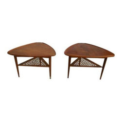 Selig - Pre-owned 1960s Danish Teak Side Tables By Selig - Fabulous pair of 1960's modern Danish teak side tables, made by Selig. These pieces are in good vintage condition with some wear due to age and use. The tables need refinishing and new caning. One table is unfortunately missing the label.