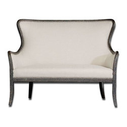 Uttermost - Uttermost Sandy Loveseat - 23074 - Shimmery, sandy white woven tailoring features Teflon?? fabric protector and brass nail accents