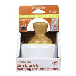 Full Circle Home Bubble Up Brush Plus Soap Dish- White - Case Of 4 - Natural ceramic base