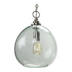 Kathy Kuo Home - Madeira Coastal Beach Recycled Glass Float Pendant - This is one singular sensation in the form of a pendant light. Made from recycled glass, it floats elegantly, providing soft light above your dining areas, entry ways or stairwells.