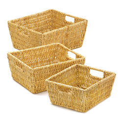 KOOLEKOO - Arcadian Nesting Baskets - The thick weave of this nesting basket trio ensures that this set will be in style for years to come. Wrapped around a wire metal frame, these baskets will help you organize your home while looking great.