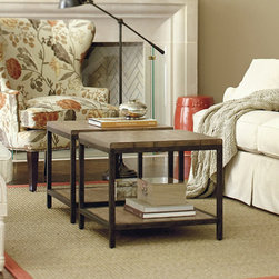 Ballard Designs - Durham Bunching Table - Try it as a low end table. Coordinates with our End & Cocktail Table. Frame has aged steel finish. Assembly required. The clean, architectural design of this metal frame side table is based on an antique bricklayer's table. Bunch two to create a serving and display space in front of a sofa or loveseat. Planked wood top is heavily distressed and finished with a wash to bring out its natural grain and character.Durham Bunching Table features:. . . .