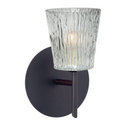 BESA Lighting - BESA Lighting 1SW-512500 Nico 1 Light Halogen Bathroom Sconce - Nico 4 features a tapered drum shape that fits beautifully in transitional spaces. Our Clear Stone glass is a clear blown glass with an outer texture of coarse sandstone. Inspired by the elements of nature, the appearance of the surface resembles the beautiful cut patterning melting ice over a rock formation. This blown glass is handcrafted by a skilled artisan, utilizing century old techniques that have been passed down from generation to generation. Each piece of this decor has its own artistic nature that can be individually appreciated. The mini sconce is equipped with a decorative lamp holder mounted to either a low profile round or square canopy.Features: