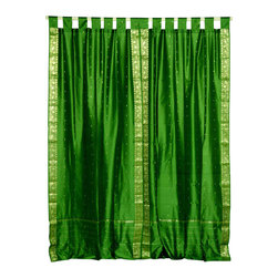 Indian Selections - Pair of Forest Green Tab Top Sheer Sari Cafe Curtains, 43 X 36 In. - Several sizes available