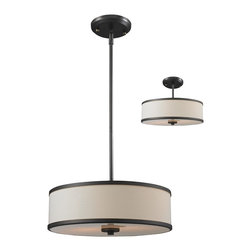 Z-Lite - Convertible Pendant/Semiflush Light Fixture, Cameo Collection - With its clean, functional lines and chrome accents, this Convertible Pendant / Semi-Flush Fixture features a bottom glass diffuser that softens the light output.