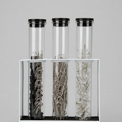 Test Tube Office Supply Set - Test tubes can hold just about anything from office supplies (as seen here) to colored liquids to herbs and spices. Consider test tubes for a unique and stylish statement in your home.