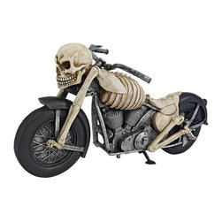 """EttansPalace - 15"""" Classic Skull Bones Ghost Rider Biker Desktop Tabletop Statue Sculpture - This ghost rider puts the hammer down on this old school chopper and gets ready to rip it up! Created by a celebrated artist, this collectible fat engine design features roaring V-twin motors cast in quality designer resin and hand-painted in bone chillin' accuracy. When you share this skeleton statue, he s guaranteed to keep the shiny side up!"""