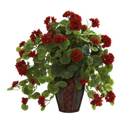 Nearly Natural - Geranium with Decorative Planter - Beautiful geranium leaves and blooms. Never needs water. Will stay fresh looking for years. Makes a great gift. Made from silk. Green and red color. Planter: 7 in. Dia. x 10.5 in. H. Overall: 24 in. L x 24 in. W x 22 in. HSome folks think the Geranium tops the rose as nature's best flower. Can't say we blame them, especially after looking at this stunning Geranium in decorative planter. With the multiple colorful blooms amidst the green leaves, all spilling forth from an astonishingly attractive planter.