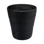 Kouboo - Round Rattan Waste Basket in Black - Go au natural with this rattan wastebasket. It blends perfectly in the background and conceals its contents with its solid construction, making it a fitting choice for your bedroom, bath or home office.