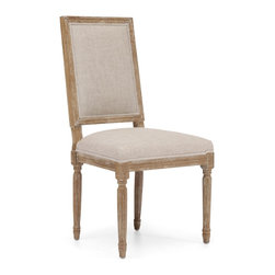 Zuo Modern - Zuo Modern 98074 Cole Valley Chair Beige - Sold in Sets of 2 - Our reproductions of vintage French dining chairs display the elegant restraint emblematic of neoclassicism. Defined by linear form and tapering fluted columnar legs a, the chairs have been updated in hand-carved elm with a soft, weathered finish. Fabric is either beige or charcoal linen fabric.