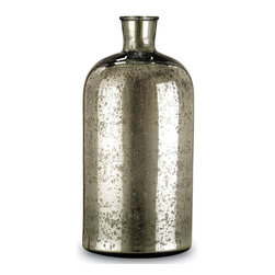 Currey & Company - Currey & Company Cypriot Medium Bottle CC-1024 - Beautiful mercury glass accent bottle. The antique silver surface reflects a classic sense of age. The cylindrical, petite form is complemented seamlessly in conjunction with the small and/or large Cypriot Bottle(s).