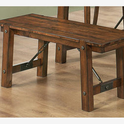 Country Rustic Oak Wood Dining Bench Stool Coaster 103993 - Features