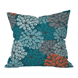 DENY Designs - Khristian A Howell Greenwich Gardens 3 Throw Pillow - Add some soft color and playful pattern to your sofa, bed or bench with this pillow. Stylized flowers in blues, grays and dark coral float against a teal background. Custom printed on woven polyester, it features a zipper closure and bun insert for easy cleaning.