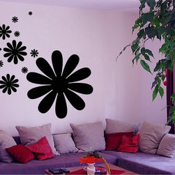StickONmania - Flower Shapes Design #2 Sticker - A cool vinyl decal wall art decoration for your home  Decorate your home with original vinyl decals made to order in our shop located in the USA. We only use the best equipment and materials to guarantee the everlasting quality of each vinyl sticker. Our original wall art design stickers are easy to apply on most flat surfaces, including slightly textured walls, windows, mirrors, or any smooth surface. Some wall decals may come in multiple pieces due to the size of the design, different sizes of most of our vinyl stickers are available, please message us for a quote. Interior wall decor stickers come with a MATTE finish that is easier to remove from painted surfaces but Exterior stickers for cars,  bathrooms and refrigerators come with a stickier GLOSSY finish that can also be used for exterior purposes. We DO NOT recommend using glossy finish stickers on walls. All of our Vinyl wall decals are removable but not re-positionable, simply peel and stick, no glue or chemicals needed. Our decals always come with instructions and if you order from Houzz we will always add a small thank you gift.