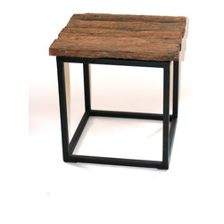 Filling Spaces - Reclaimed Wood Table - Banish the banal with this industrial table. It has a frame of strong, dark metal with a top made of reclaimed wood that's rough and ready to add some wow to your space. It's available in either a side table or console, which features a lower shelf of the same wood.