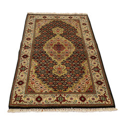 """Wool And Silk Oriental Rug, 2'X5' Hand Knotted Tabriz Mahi 250 Kpsi Rug SH12752 - The first way one normally finds silk in a rug is as a """"highlight""""  or """"silk touch"""". This will be seen in very high knot count traditional rugs typically. The silk is used in very small amounts throughout the design to highlight, add an extra dimension, and/or pop to the design. The second way silk is incorporated into a wool rug sometimes is when an entire element of a rug or color is done in silk. This is seen in both modern as well as traditional rugs. A design element, for instance a flower or bird, could be entirely carved out in silk within the rug. This design sometimes will also be depressed or raised (have a higher and lower pile) besides being done in silk so it will stand out even more within the rug."""