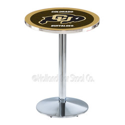 Holland Bar Stool - Holland Bar Stool L214 - Chrome Colorado Pub Table - L214 - Chrome Colorado Pub Table belongs to College Collection by Holland Bar Stool Made for the ultimate sports fan, impress your buddies with this knockout from Holland Bar Stool. This L214 Colorado table with round base provides a commercial quality piece to for your Man Cave. You can't find a higher quality logo table on the market. The plating grade steel used to build the frame ensures it will withstand the abuse of the rowdiest of friends for years to come. The structure is triple chrome plated to ensure a rich, sleek, long lasting finish. If you're finishing your bar or game room, do it right with a table from Holland Bar Stool. Pub Table (1)