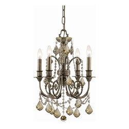 Crystorama - Crystorama 5114-EB-GT-MWP Chandelier - Inspired by traditional European designs, the Regis collection combines hand-painted iron frames with pendalogue shaped crystals and beaded swags. The warm golden teak crystals bring out the gold brushstrokes in the English bronze painted finish, while cl